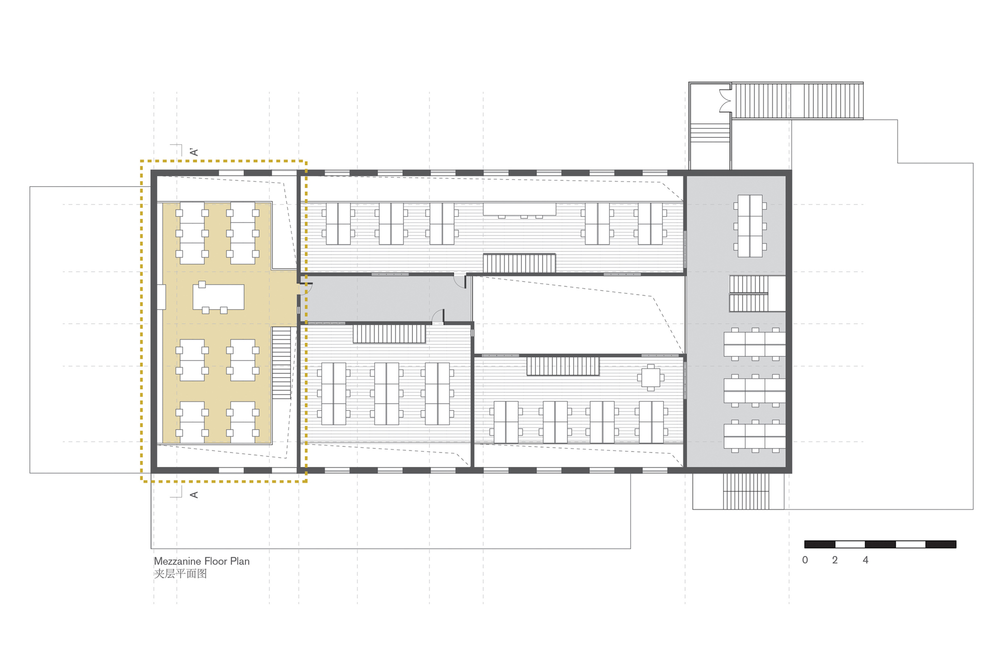 Crossboundaries' New Office / Crossboundaries. 16 / 20. Mezzanine Floor Plan