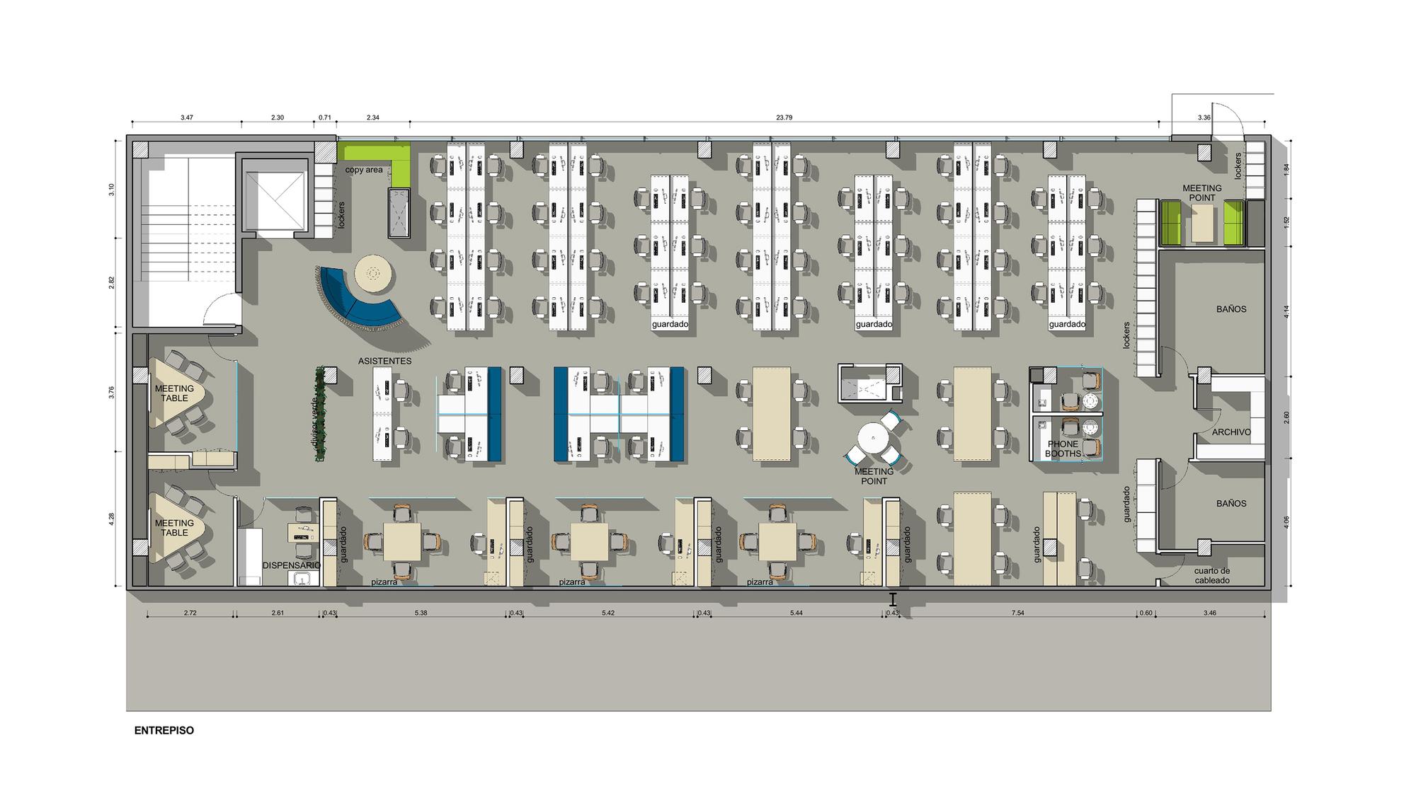 Galer a de oficinas telef nica contract workplaces 17 for Planta arquitectonica de una oficina