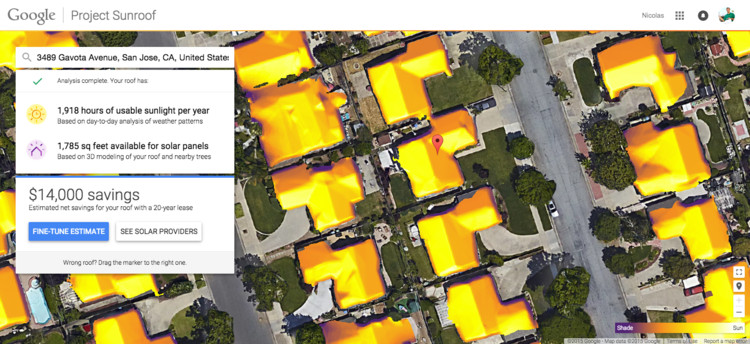 Google: Project Sunroof mostra quanto se pode economizar com a instalação de painéis solares nas coberturas, Project Sunroof da Google. Imagem © Google