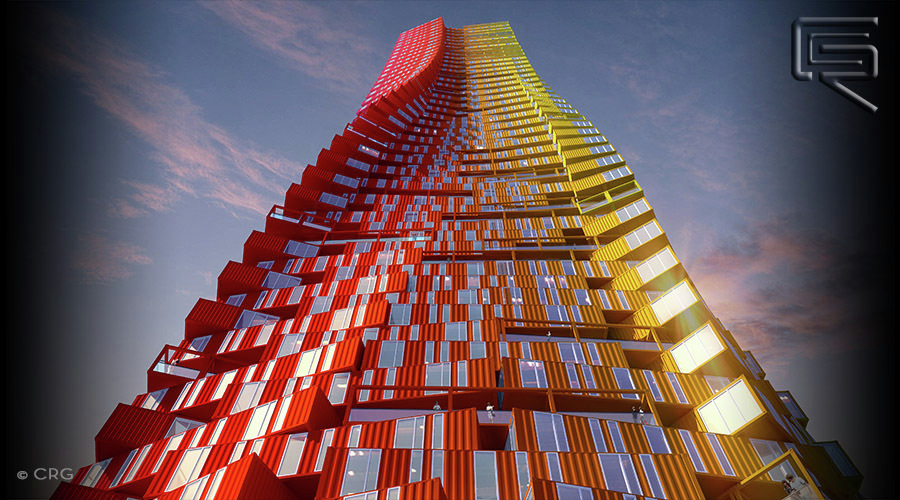 Crg Envisions Shipping Container Skyscraper Concept For