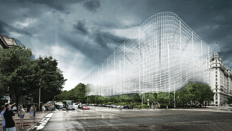 KAMJZ Proposes to Preserve Pershing Park with an Overhead Memorial, Courtesy of KAMJZ Architects