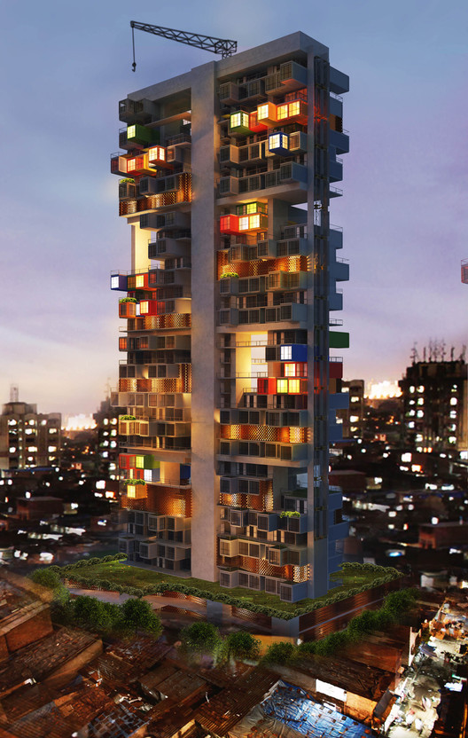 GA Designs Radical Shipping Container Skyscraper for Mumbai Slum, Courtesy of GA Design