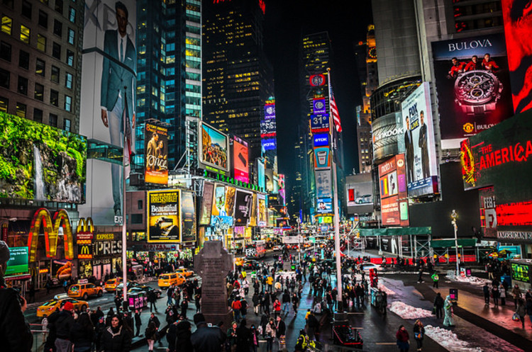 New York City Mayor Threatens to Remove Times Square, Times Square in 2014. Image © Flickr CC User MK Feeney