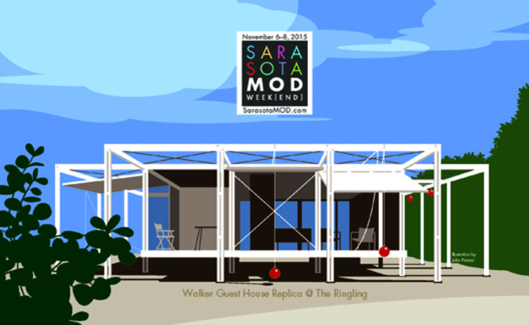 Architectural Festival: Sarasota MOD, Celebrating Paul Rudolph, Illustration by John Pirman of the Walker Guest House, Paul Rudolph, 1952