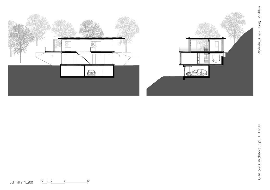 Gallery of house on a slope gian salis architect 19 for House plans on hill slopes