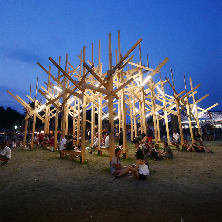 Atelier YokYok Creates Wood Forest Installation in Budapest, Courtesy of Atelier YokYok