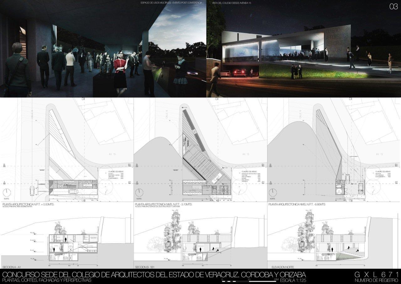 Galer a de segundo lugar concurso sede del colegio de - Colegio de arquitectos de cordoba ...