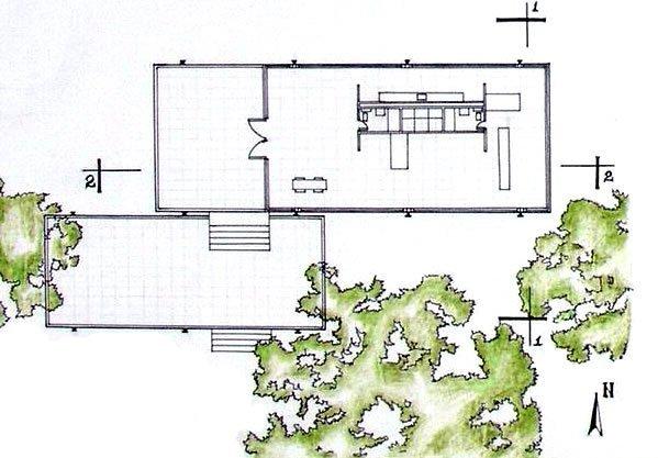 Galer a de cl sicos de arquitectura casa farnsworth for Dimensiones arquitectonicas