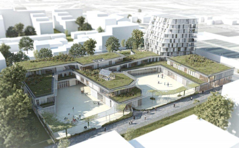 Propuesta ganadora para colegio y residencia estudiantil for Plantas de colegios arquitectura