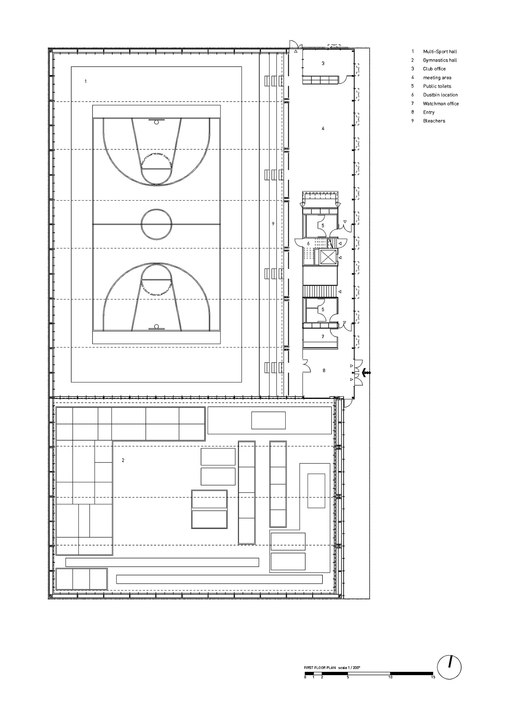 Gallery of hacine cherifi gymnasium tectoniques for Gym floor plan