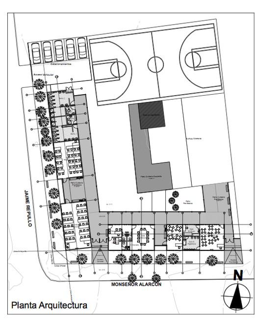 En construcci n escuela f 500 talcahuano barrueto for Plantas de colegios arquitectura