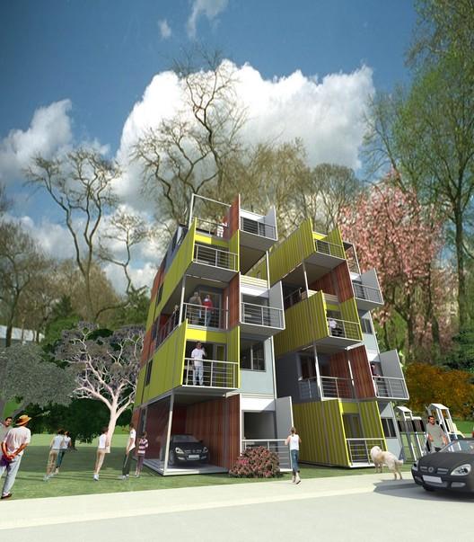 Propuesta de vivienda social en contenedores arqydis plataforma arquitectura - Vivienda contenedor maritimo ...