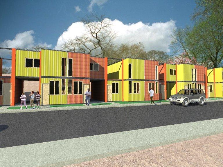 Galer a de propuesta de vivienda social en contenedores arqydis 3 - Viviendas de contenedores ...