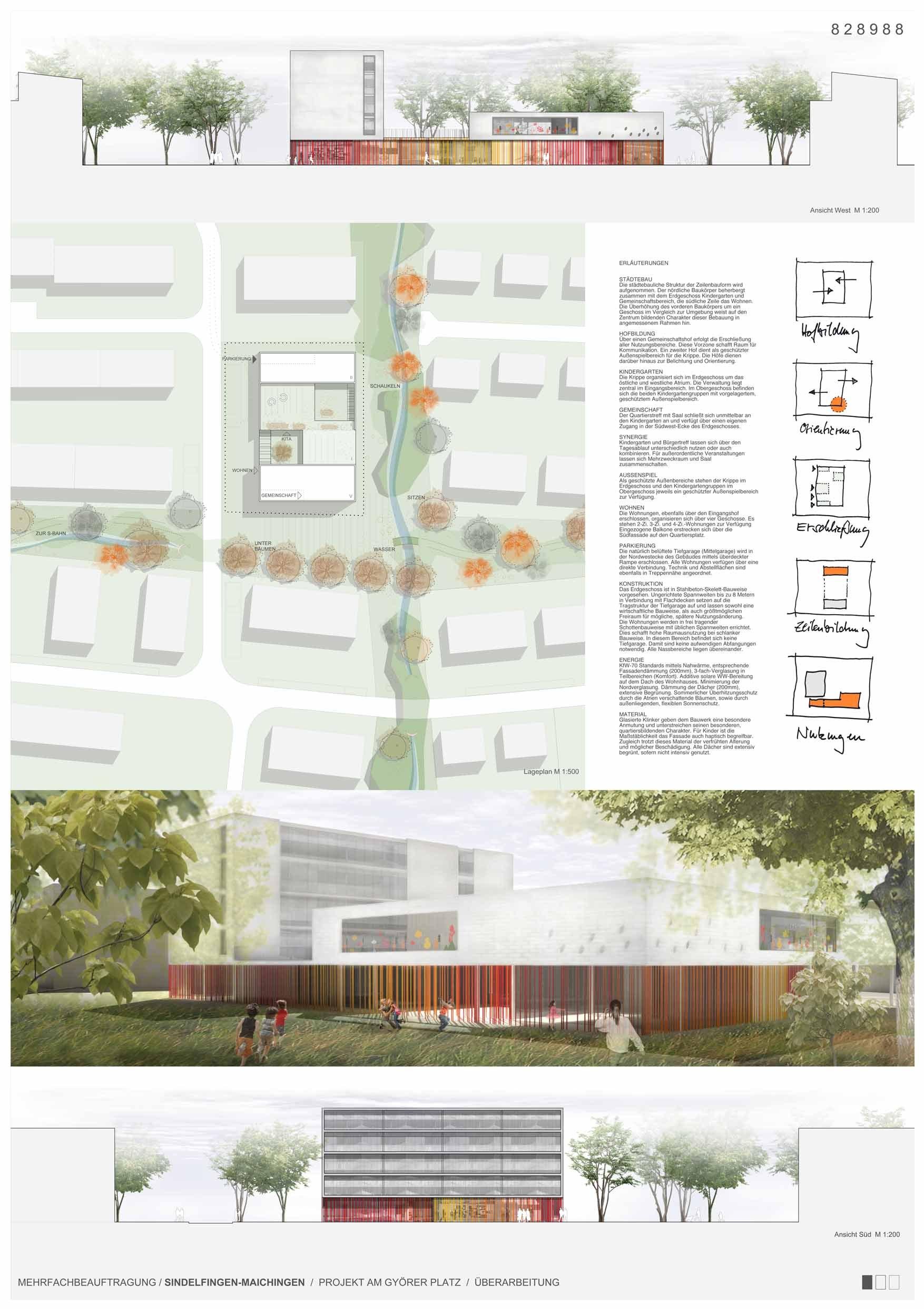 Gallery of Kindergarten, Housing and Community Hall