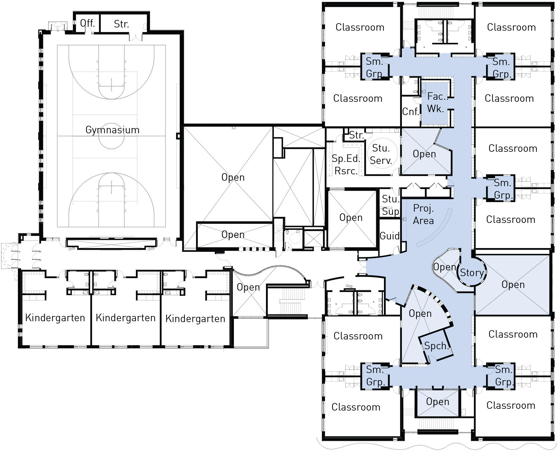 Gallery of what architecture has to say about education for Small daycare floor plans