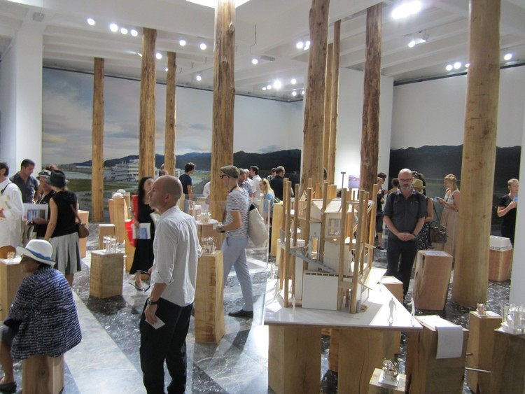Architecture Biennale Venice 2012: Questions without answers  , Japan Pavilion with the final design of the community house in the foreground