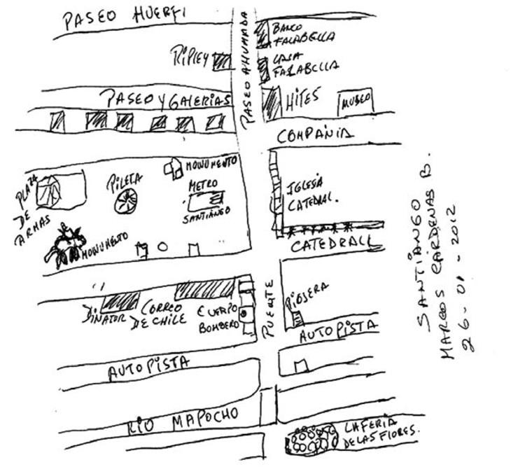 La Lima Chica en Santiago: fronteras públicas del espacio en la ciudad, La ciudad de Santiago según P. Álvarez, inmigrante peruano. Image Cortesía de Francisca Márquez, Fondecyt n° 1095083, 2012.