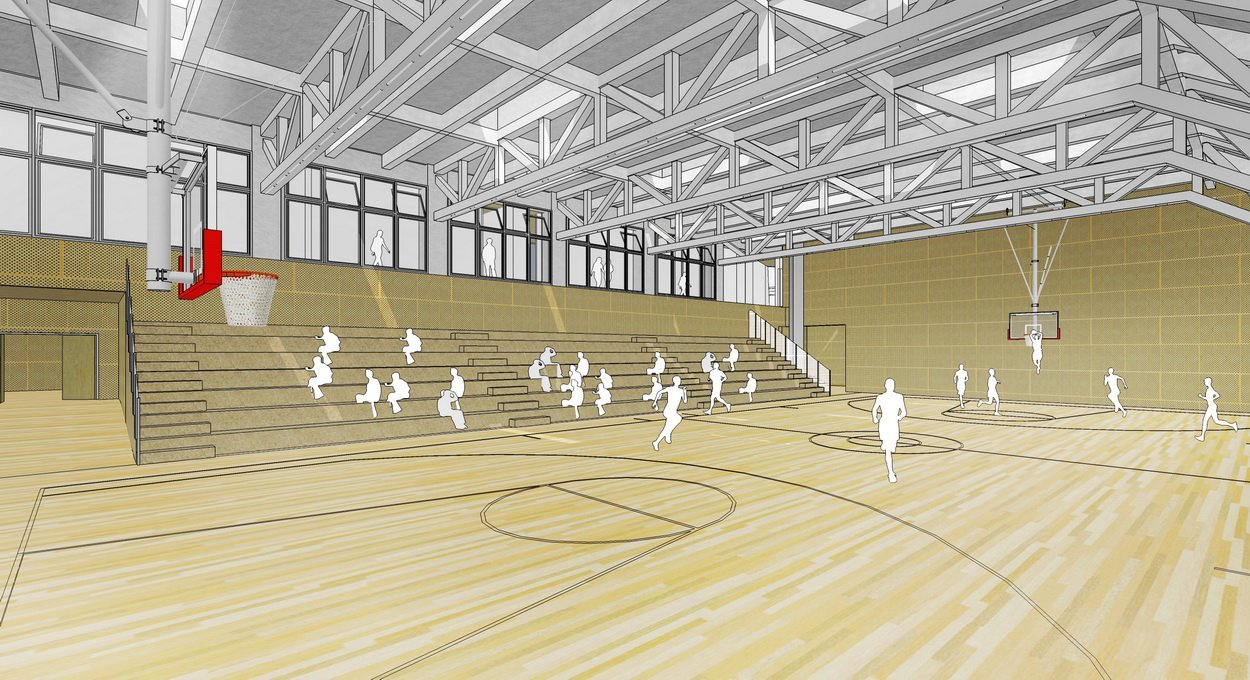 Gallery of garden school open architecture 7 for Basketball gym dimensions