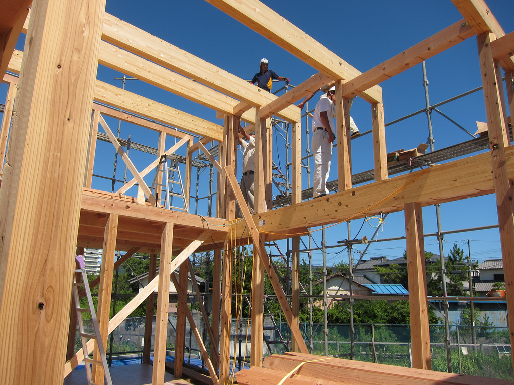 Gallery of japanese precut timber construction 1 for Timber frame house construction
