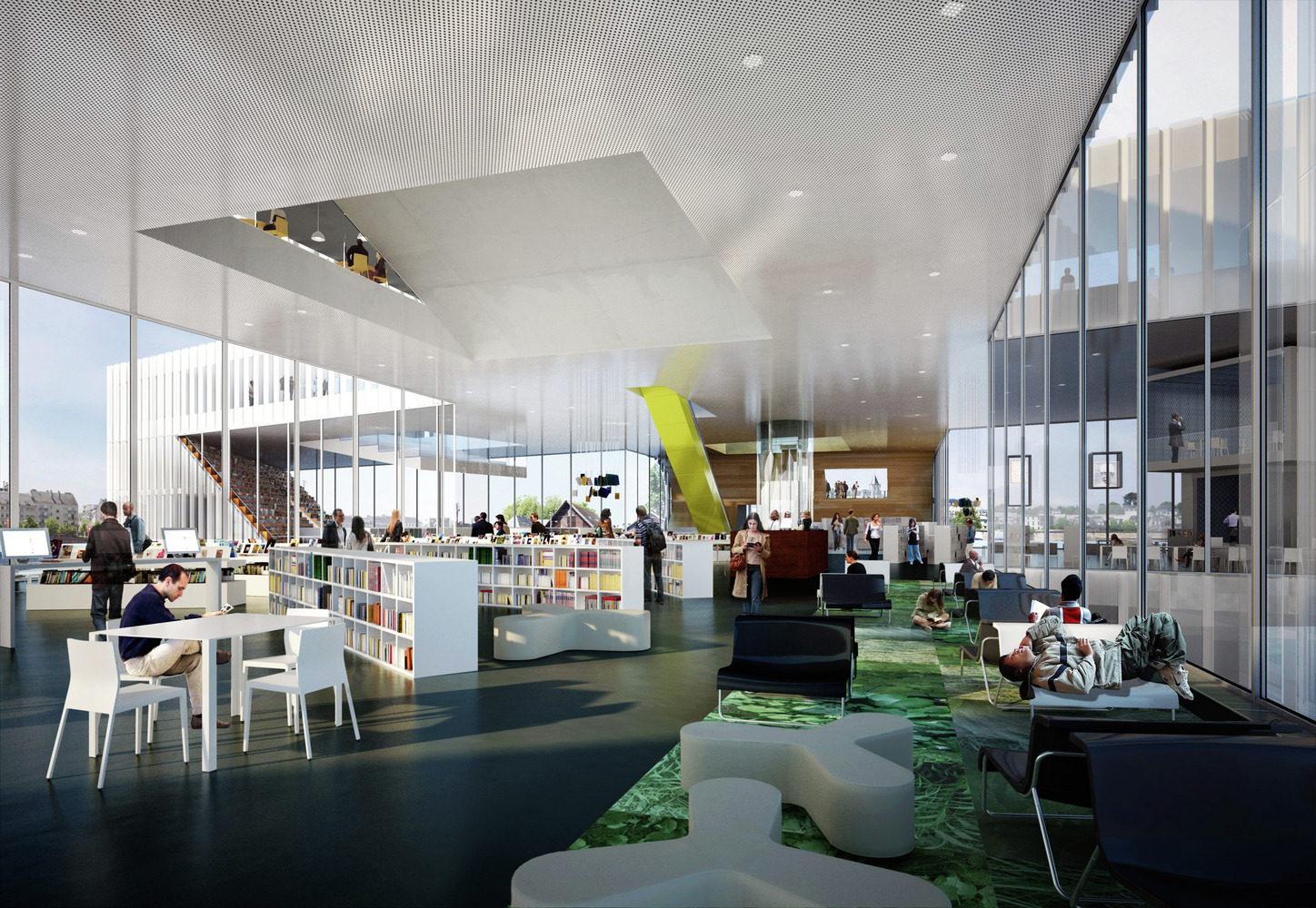 Wonderful OMA Wins Competition For New BMVR Library In Caen, France,Interior View,  Main