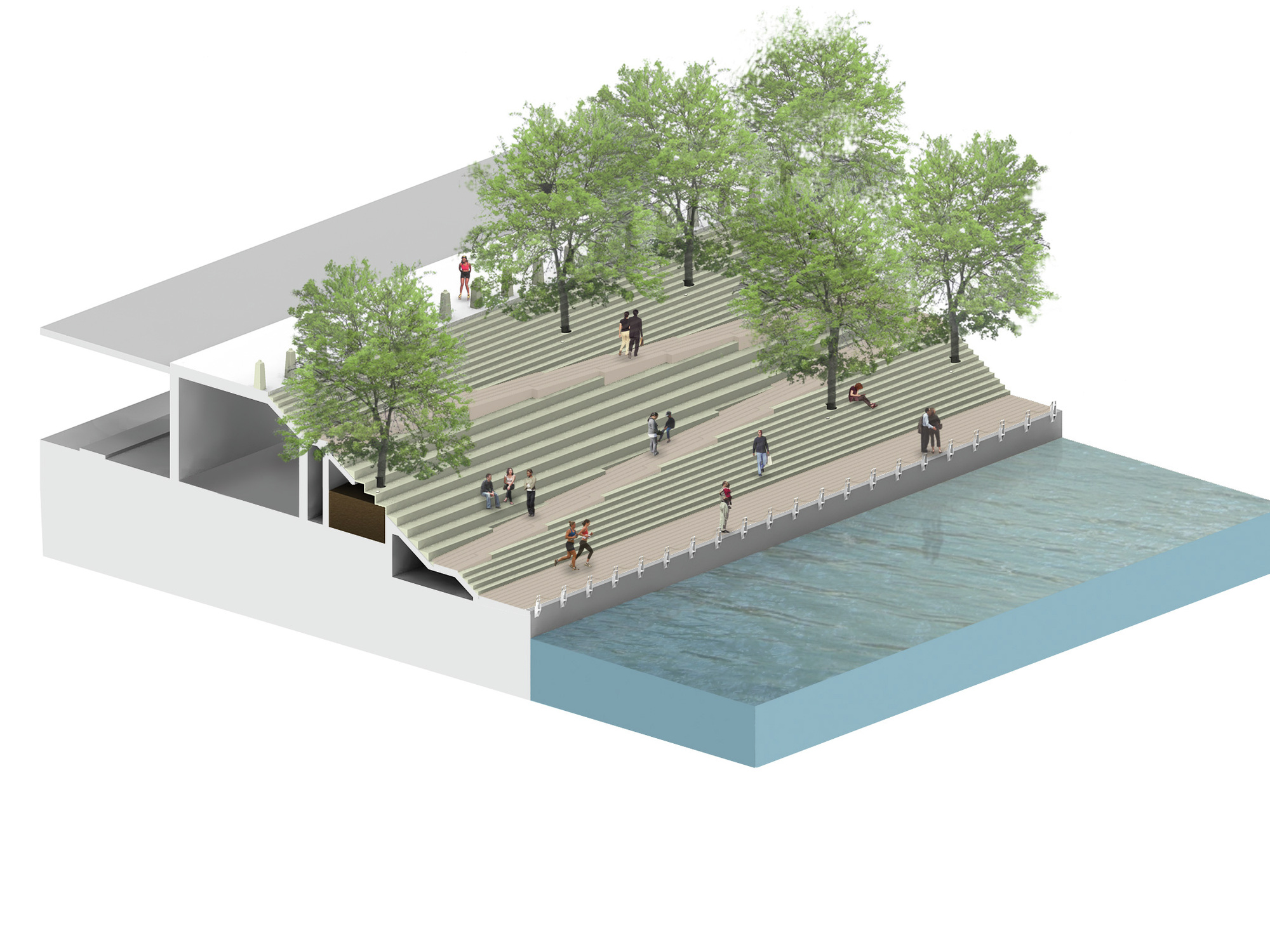 Chicago riverwalk proposal sasaki associates ross for Architecture 00