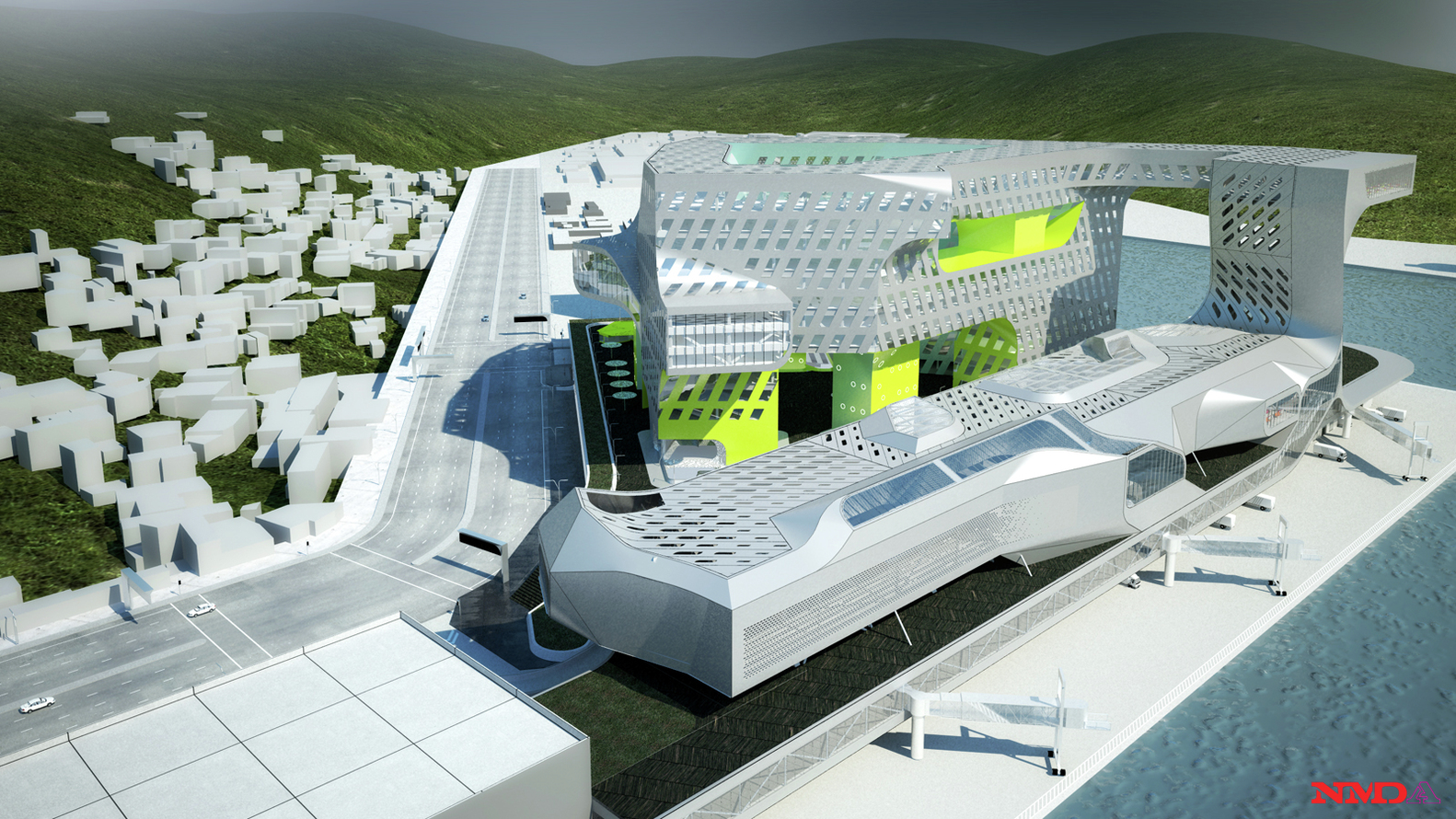Keelung Harbor Service Building / Neil M. Denari Architects,Aerial view  from the South