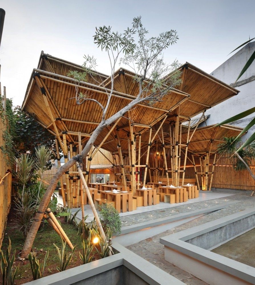 restaurant bamboo architecture dsa greenville unique exterior rest architects open archdaily wood outdoor architect indonesia air jakarta interior