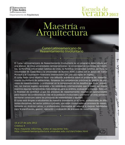 Curso latinoamericano de reasentamiento involuntario for Cursos de arquitectura uni