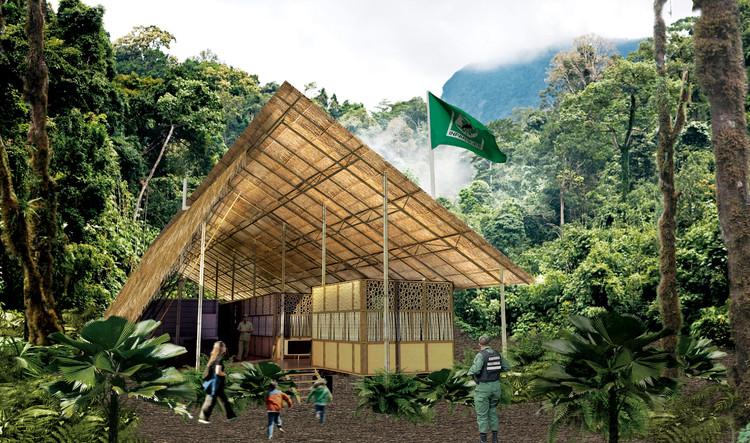 Enlace Arquitectura, primer lugar en diseños de módulos de control mixto en zonas naturales de Venezuela, Módulo de control mixto en selva. Image Cortesía de Enlace Arquitectura