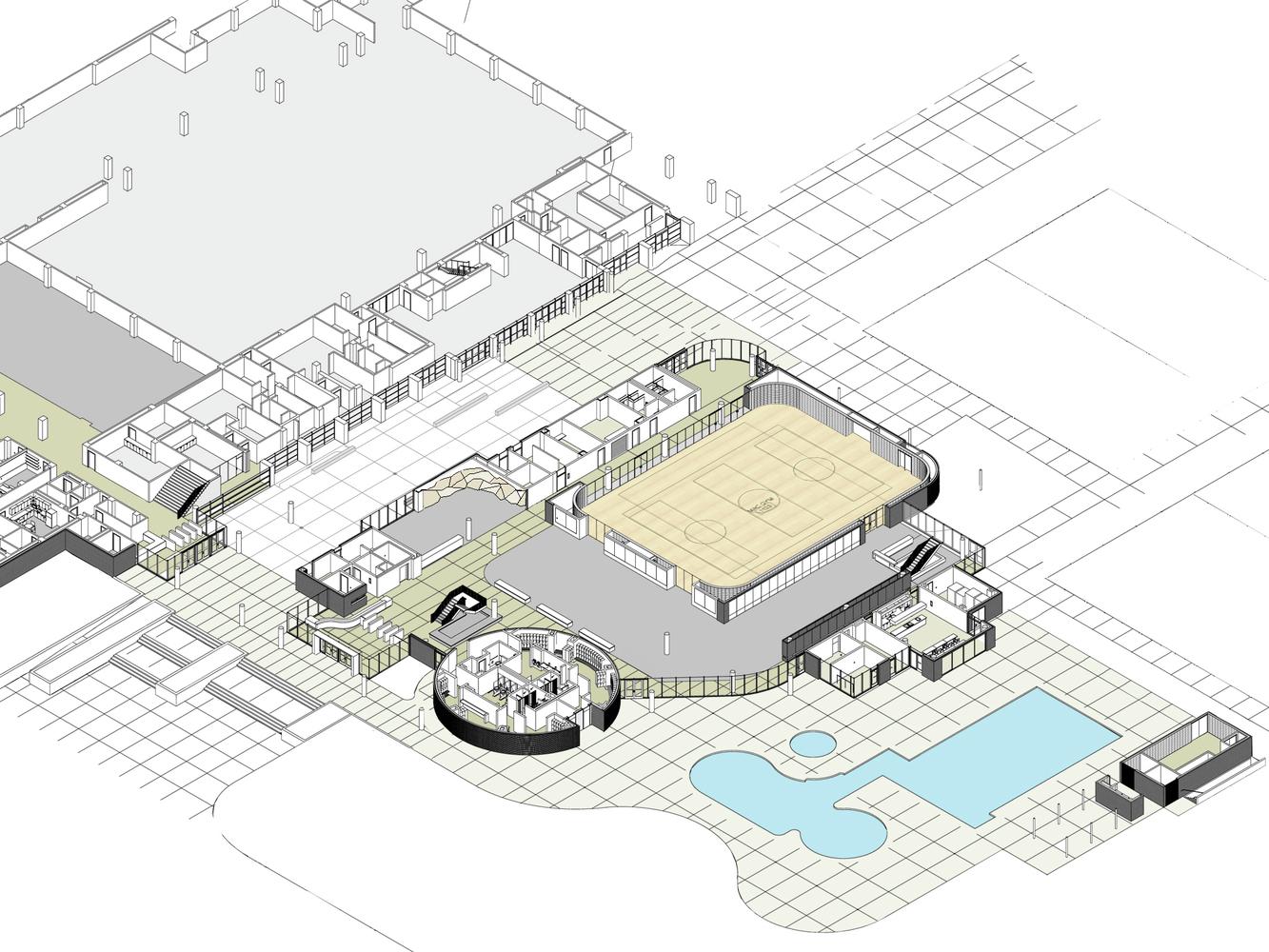 University Of California Riverside Student Recreation Center Expansion /  Cannon Design,axonometric Floor Plan 01