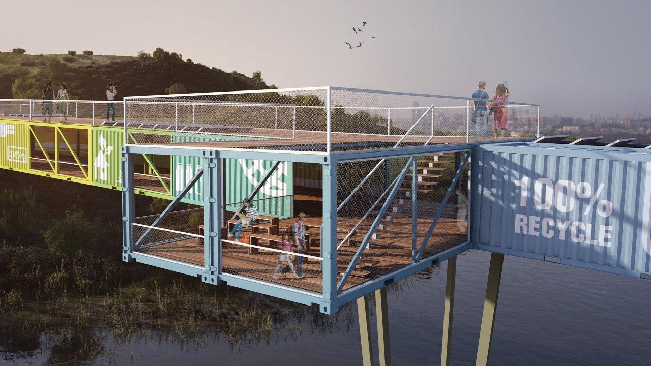 Проект моста из контейнеров в Тель-Авиве