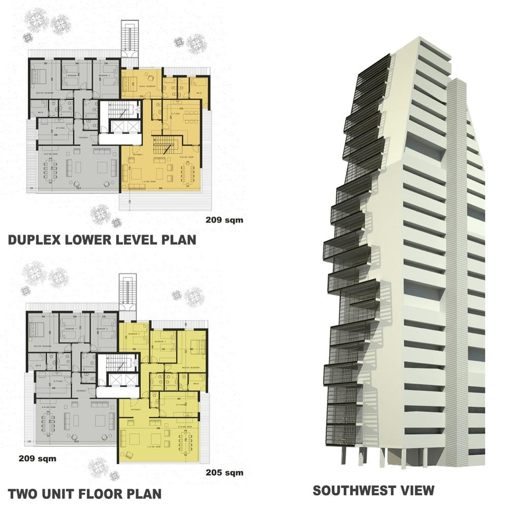 Elegant Beirut Observatory / ACCENT DESIGN GROUP,plans + Elevation