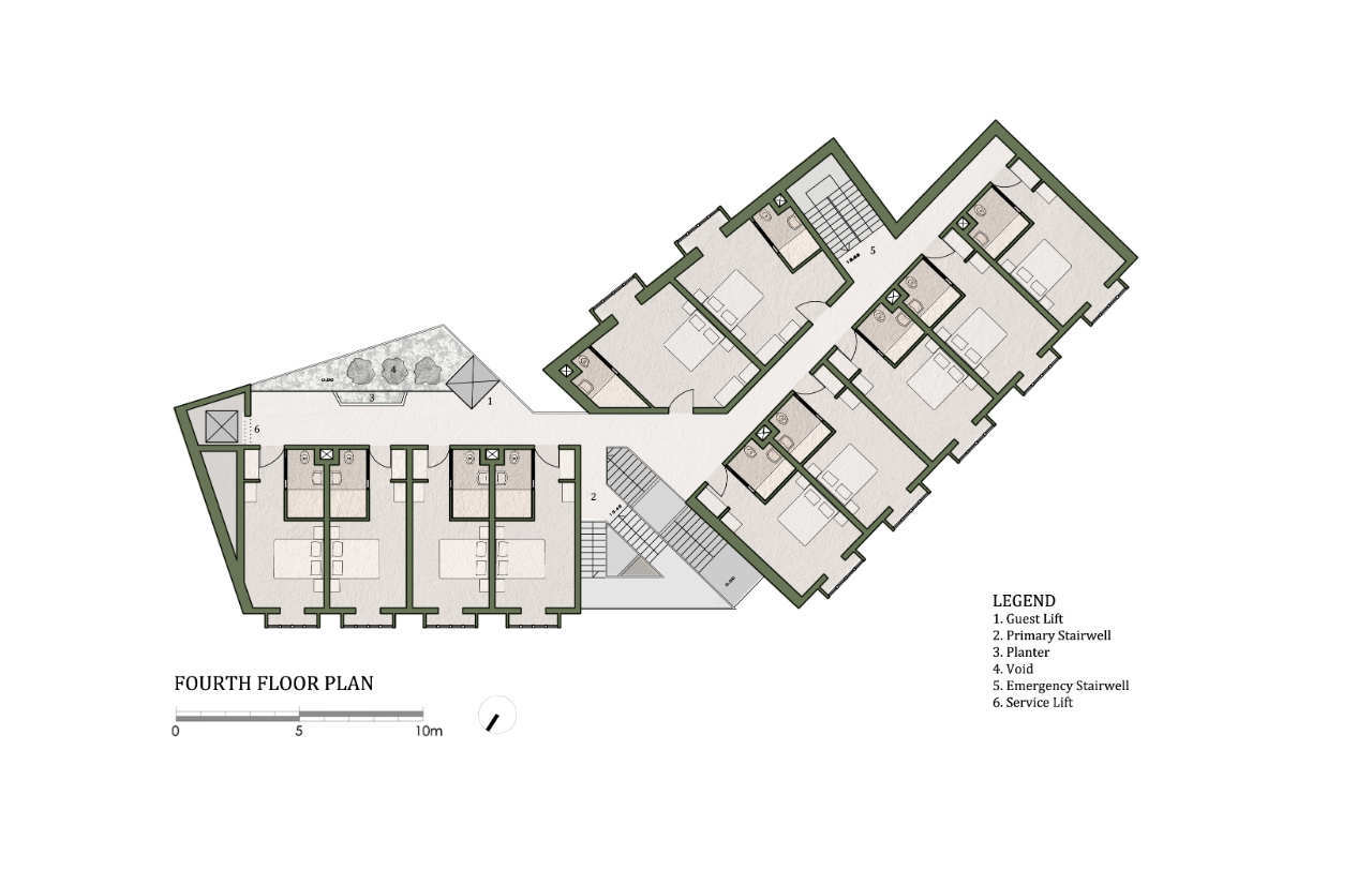 Gallery of 40 room boutique hotel chris briffa for Hotel floor plan design
