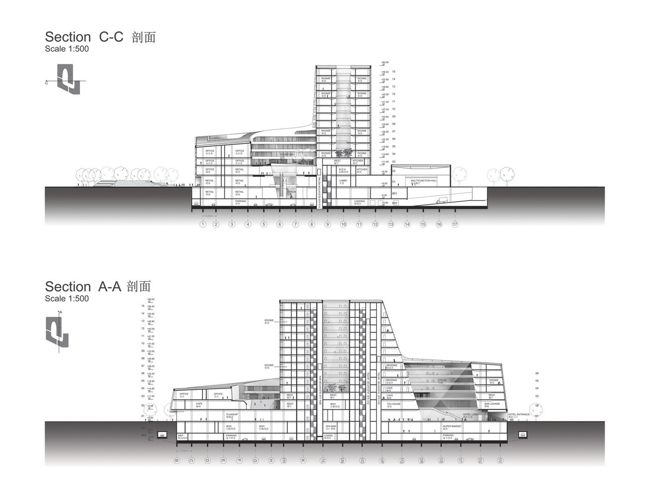 South West Hotel Compeion Proposal Henn Architects Sections