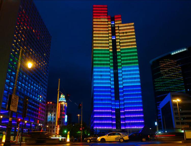 Dexia Towers Rainbow Leds Lab Au Archdaily