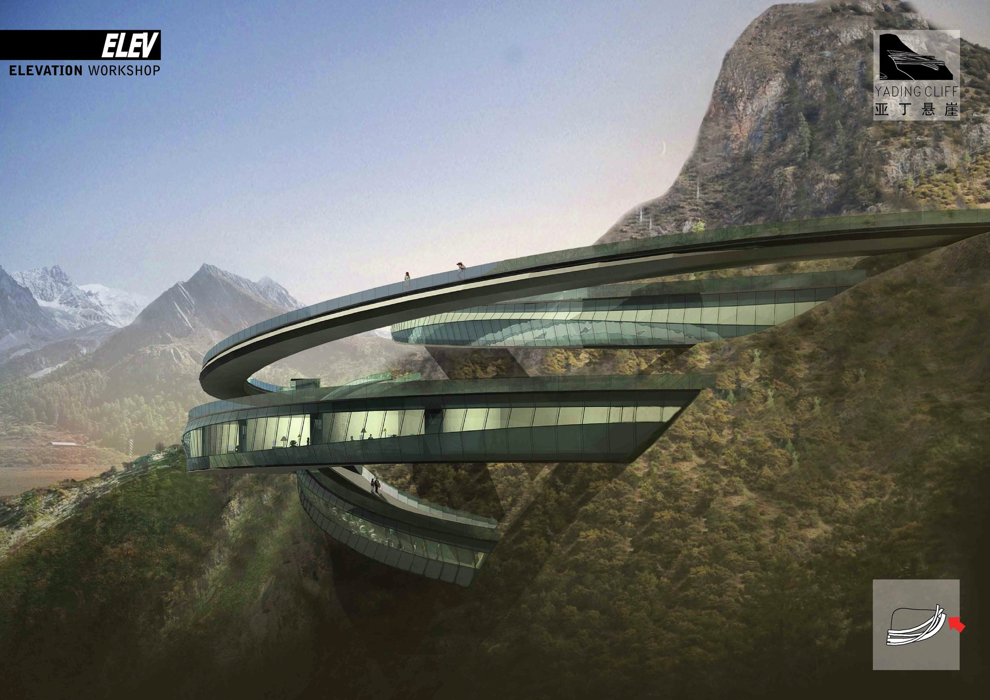 gallery of yading cliff building competition entry elev   11
