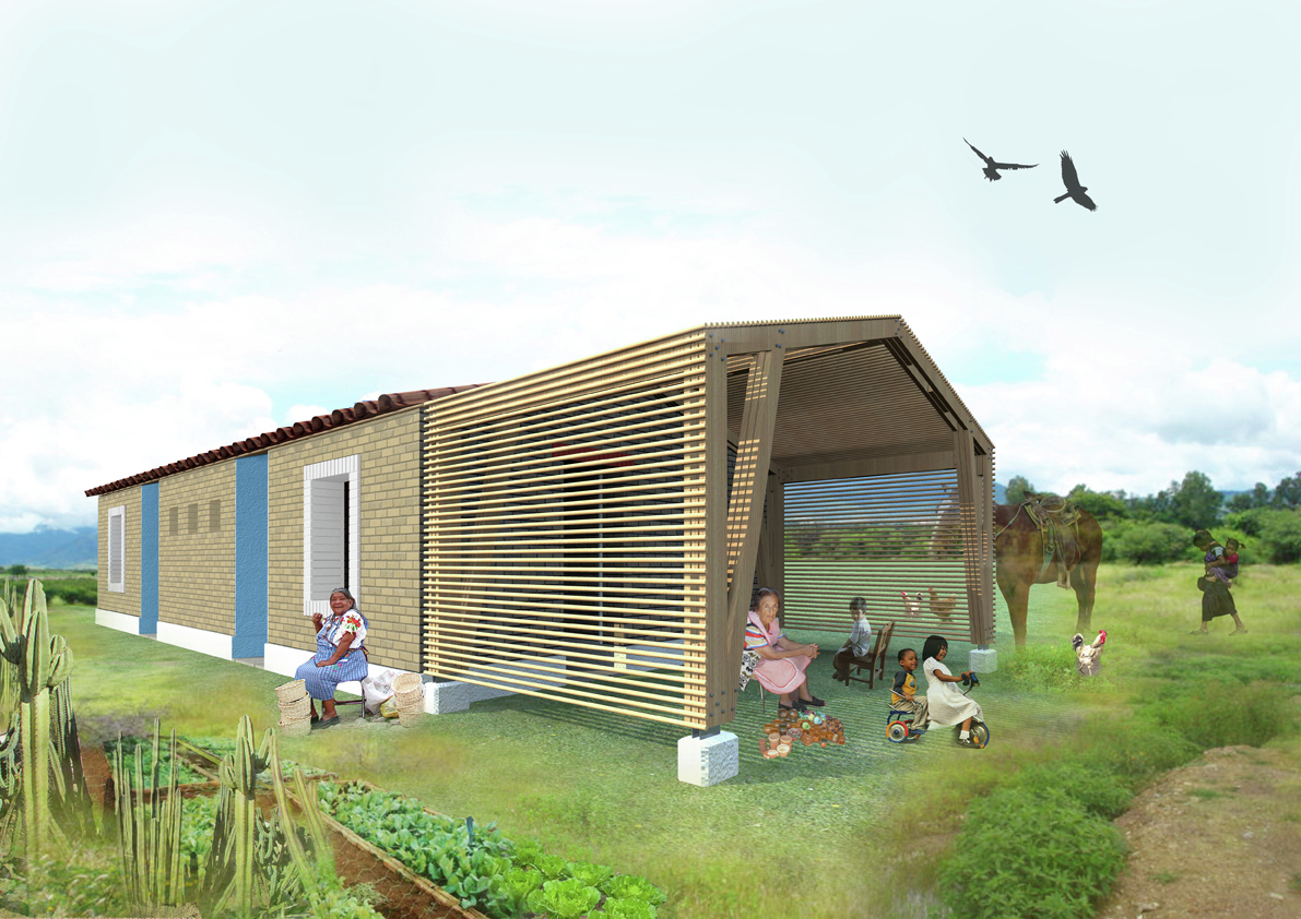 Young architects create 39 adobe for women association for Adobe style mobile homes