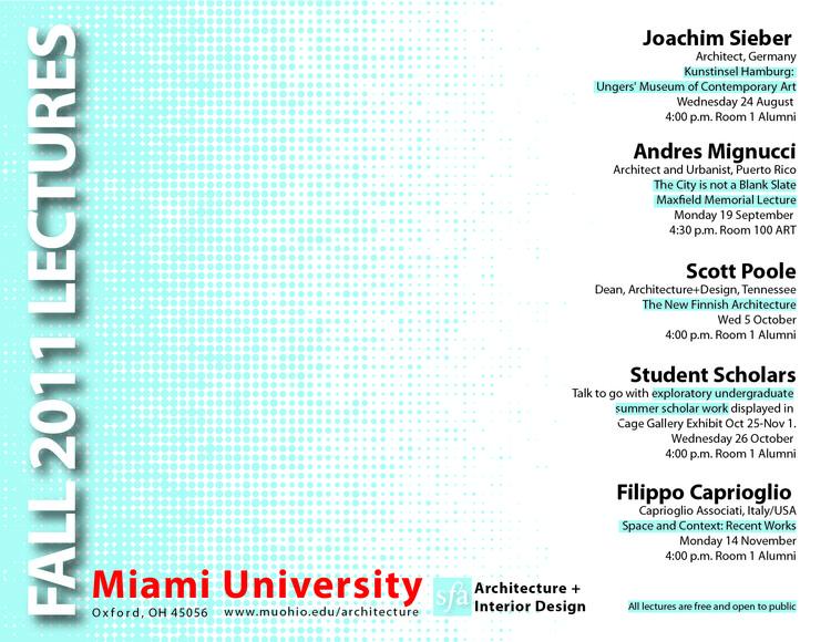 Miami University Fall 11 Architecture and Interior Design Lecture