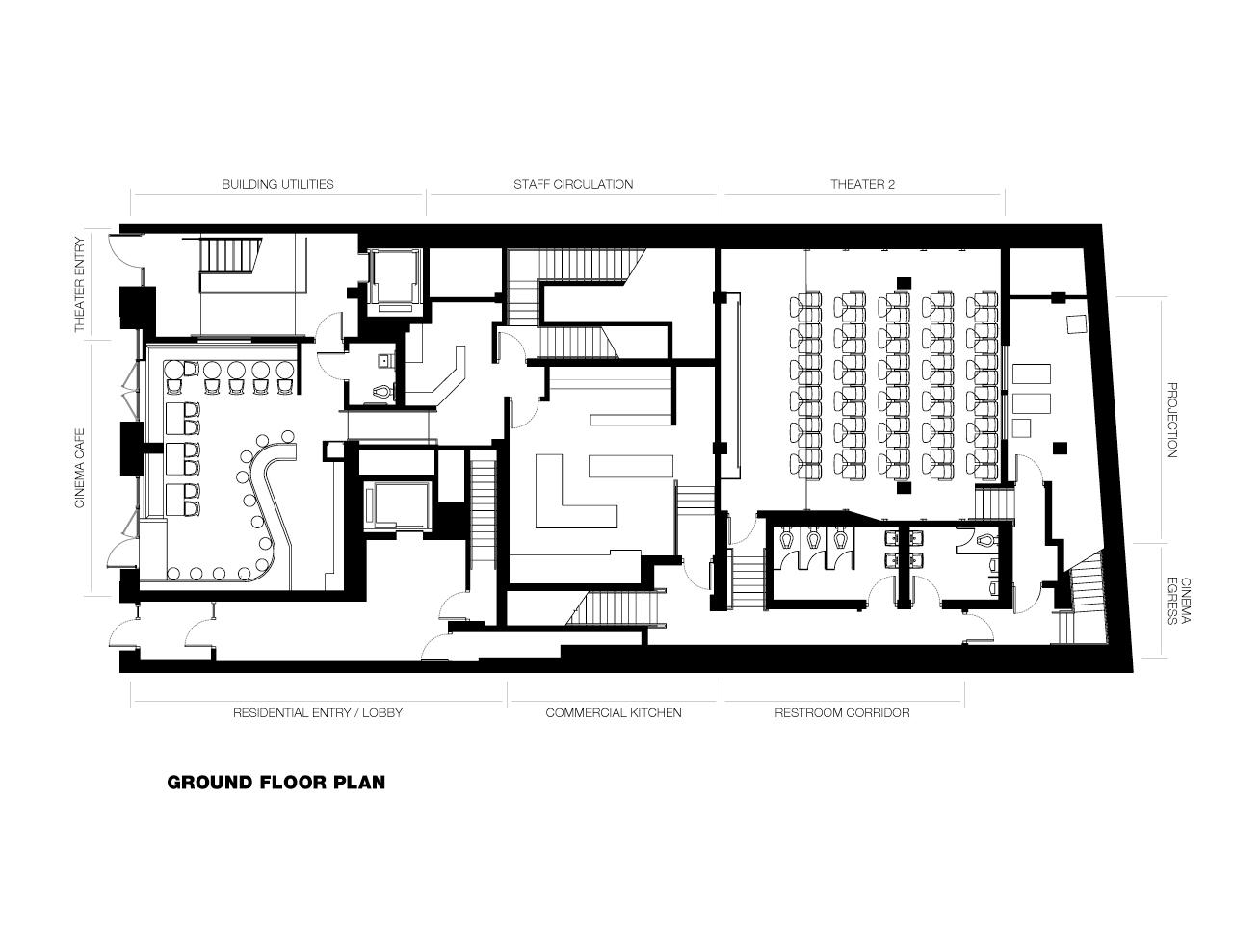 gallery of nitehawk cinema and apartments caliper studio 3 nitehawk cinema and apartments caliper studio ground floor plan