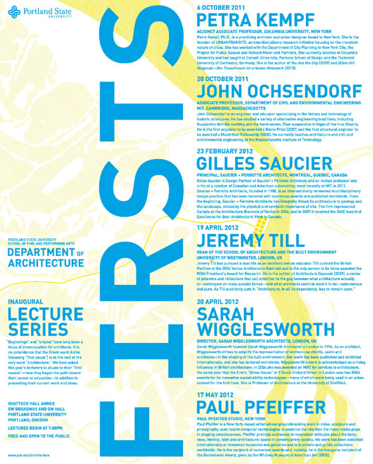 Lecture Series: Portland State University Department Of Architecture 2011