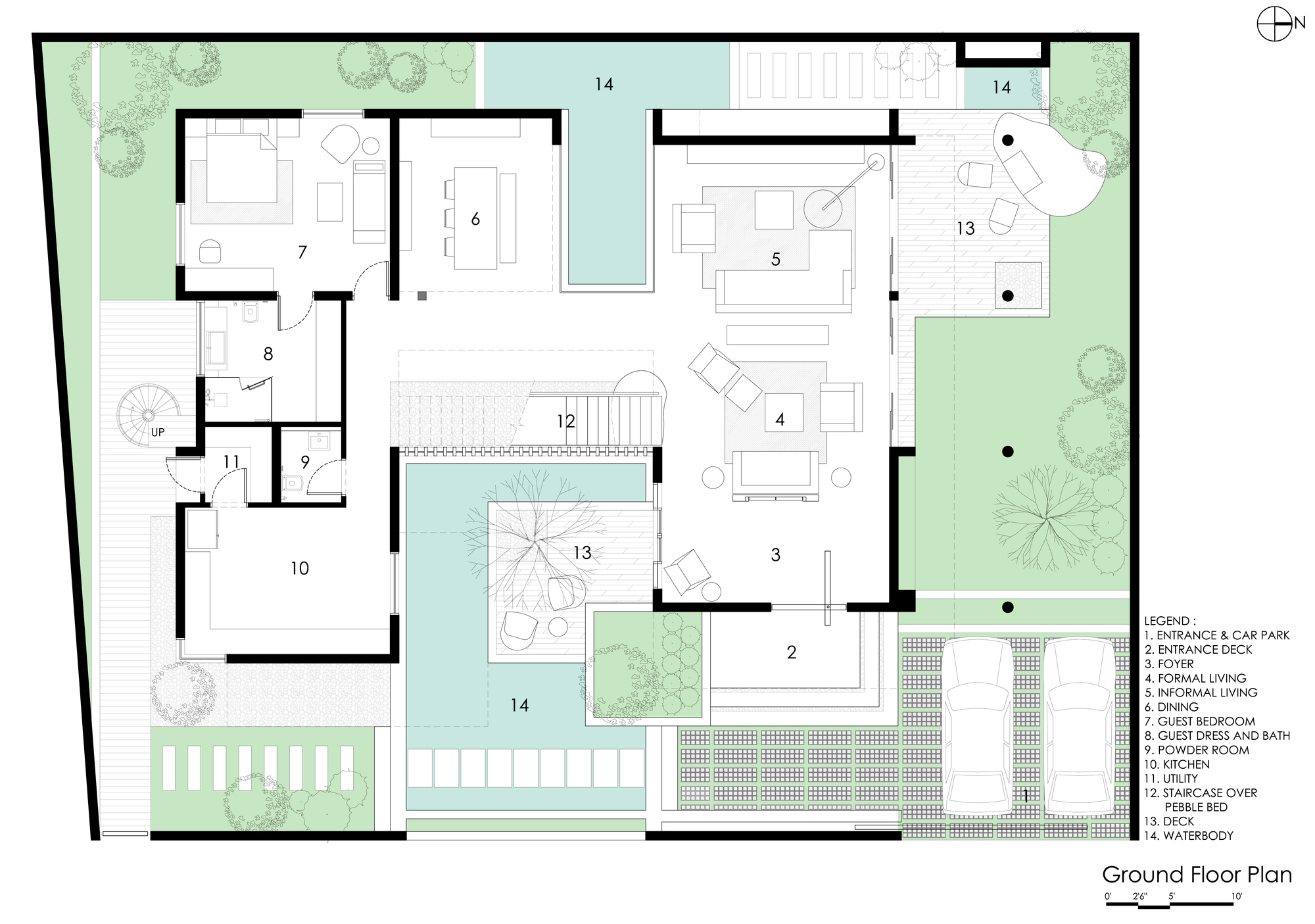 Courtyard house abin design studio ground floor plan