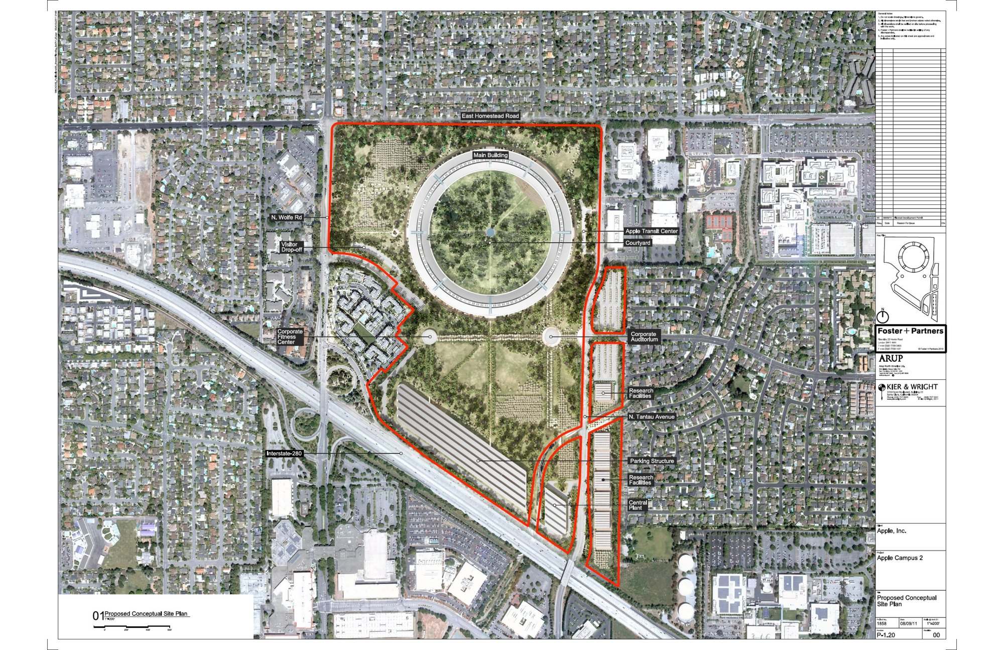 More about foster partners new apple campus in cupertino archdaily proposed conceptual site plan foster partners arup kier wright apple malvernweather Images