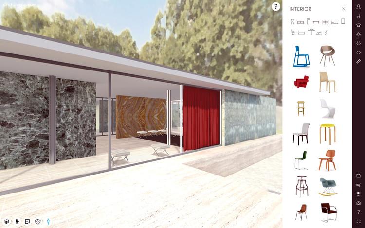 Um passeio virtual pelo Pavilhão de Barcelona de Mies van der Rohe, Cortesia de Archilogic