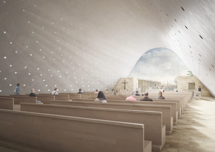 Andrea Maffei Architects' Entry to Cinisi Church Competition is Full of Iconography, Interior Rendered View. Image Courtesy of Andrea Maffei Architects