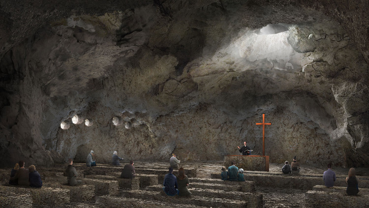 Españoles de Vilalta Studio diseñan una capilla excavada en granito, © Vilalta Studio