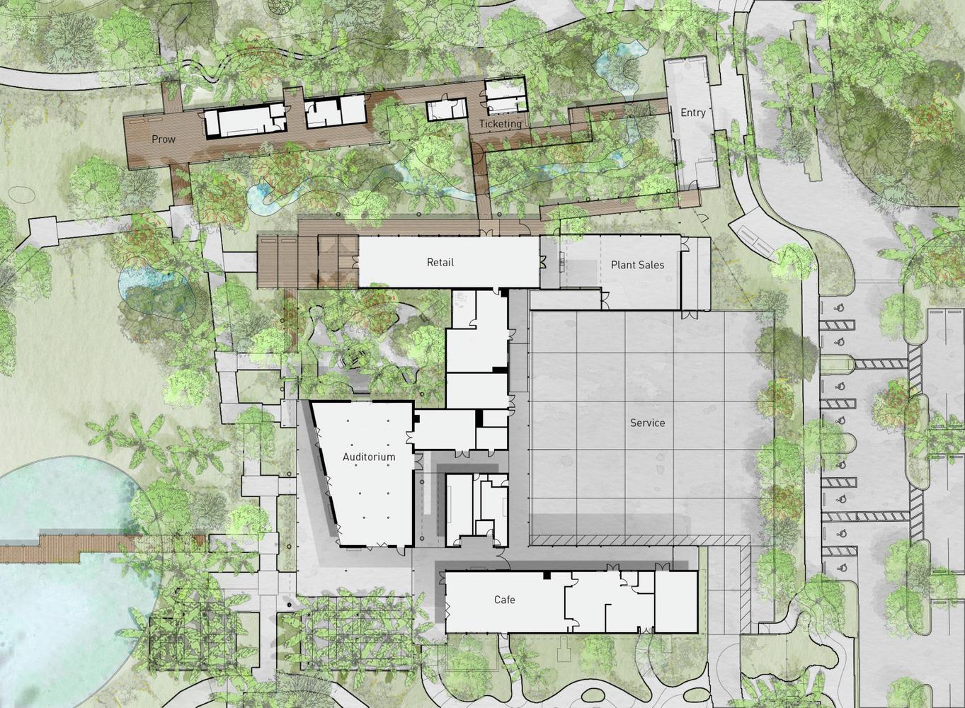 Naples Botanical Garden Visitor Center,Floor Plan