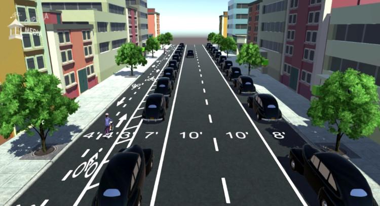 """Videos: Cuatro propuestas para cambiar vías para automóviles por ciclovías, Imagen del video """"Jeff Speck Design #1: The 3-to-2 Road Diet"""""""