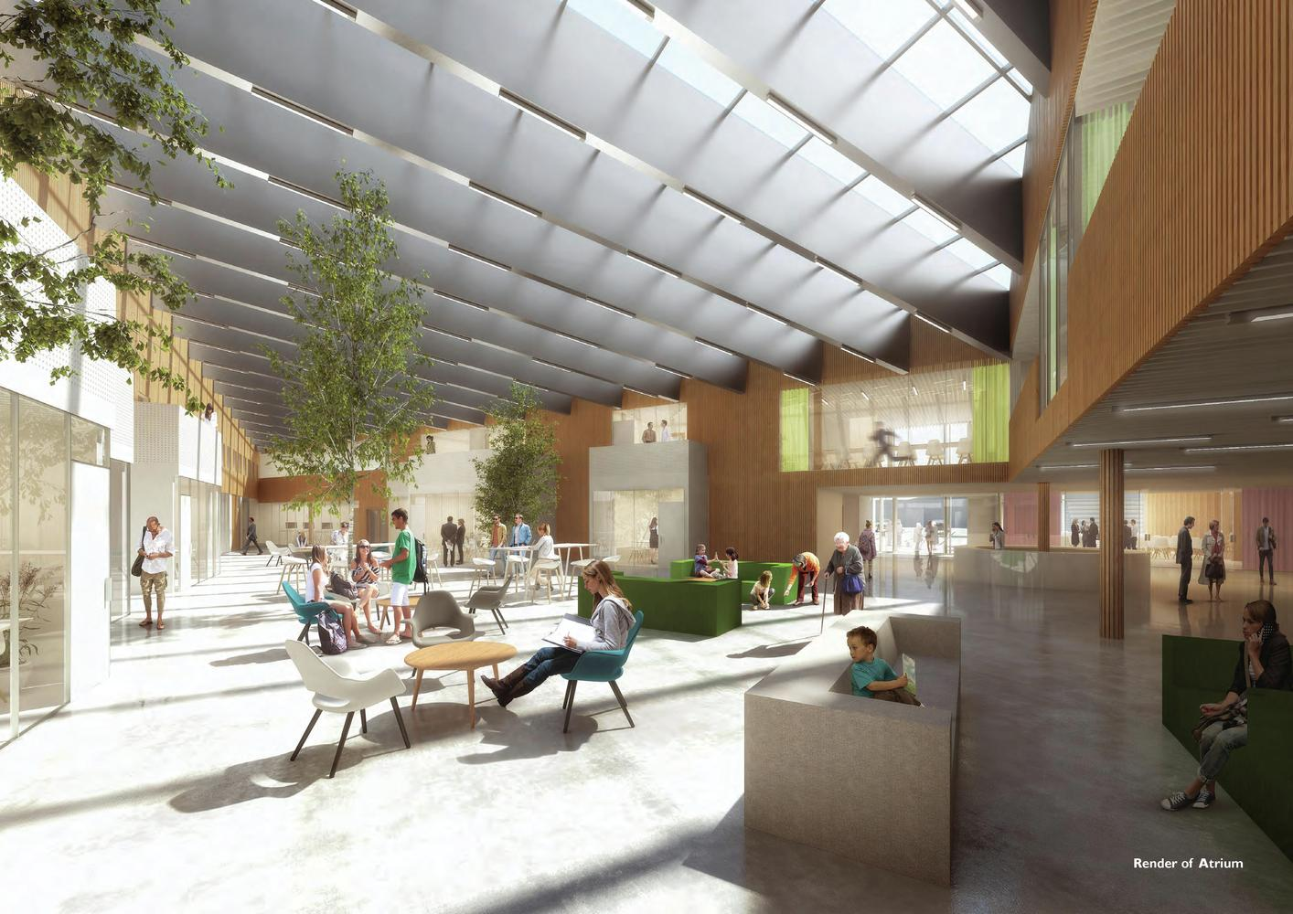 NORD Architects Wins Contract For New Furesø City Hall,Interior Rendered  View. Image Courtesy