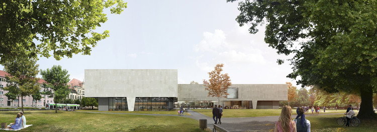 Bauhaus Museum Finalist Acts as a Gate Between City and Park, Building Facade Exterior Rendered View. Image Courtesy of Guerra De Rossa Arquitectos + Pedro Livni Arquitecto