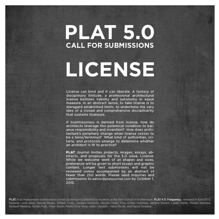 Call for Submissions - PLAT 5.0: License, PLAT 5.0: License, Call for Submissions